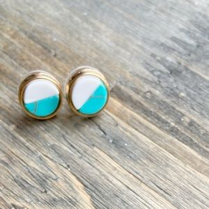 GOLD TURQUOISE AGATHA COIN STUDS EARRINGS SET